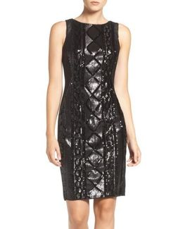 Sequin Front Sheath Dress