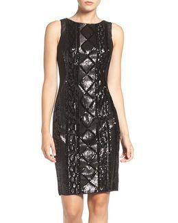 Sequin Front Sheath Dress