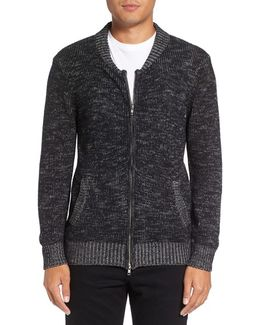Two-way Zip Melange Sweater