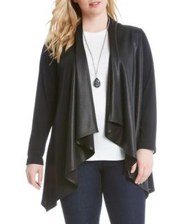 Faux Leather Front Knit Jacket