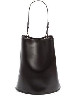 Large Calfskin Leather Bucket Bag