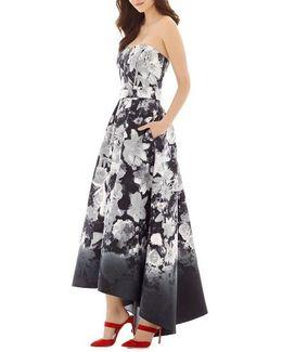 Floral Print Strapless Sateen High/low Dress