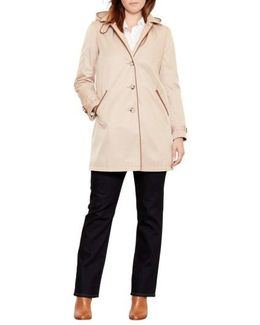 Faux Leather Trim Raincoat