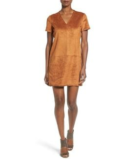 'marcella' Whipstitch Detail Faux Suede Shift Dress