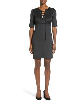 'shaw' Lace-up Sheath Dress
