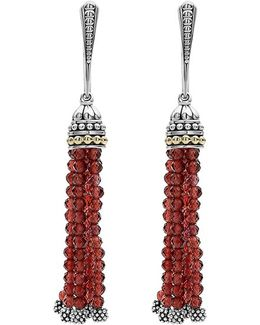Caviar Icon Tassel Drop Earrings