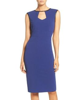 Keyhole Neck Midi Sheath Dress