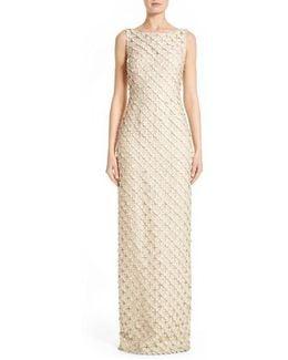 Circle Applique Sleeveless Column Gown