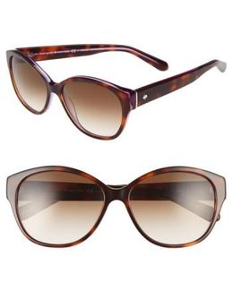 'kiersten' 56mm Cat Eye Sunglasses - Purple Tortoise