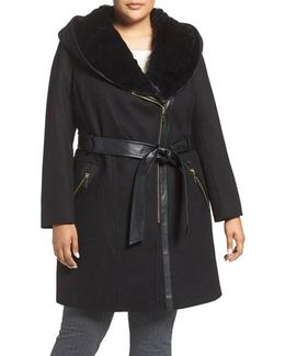 Wool Blend Coat With Faux Fur Trim