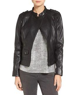 Slim Fit Leather Moto Jacket