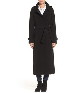 Belted Long Nepage Raincoat With Detachable Hood & Lining
