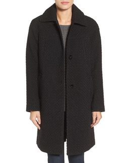 Basket-Weave Three-Quarter Length Coat