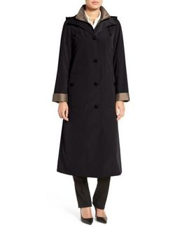 Full Length Two-tone Silk Look Raincoat