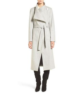 Wool Blend Maxi Wrap Coat