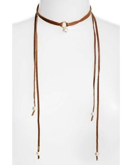 Pearl & Leather Wrap Necklace