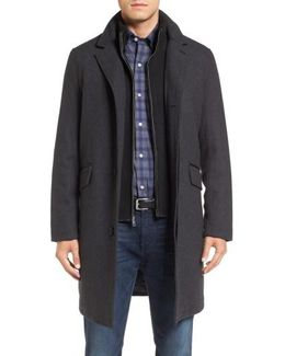 Wool Blend Overcoat With Knit Bib Inset