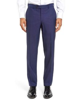 Jefferson Flat Front Solid Wool Trousers