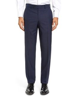 Jefferson Flat Front Solid Wool Trousers