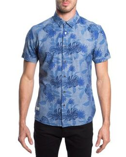 'guilded' Print Short Sleeve Chambray Shirt