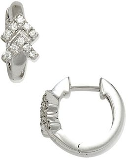 Double Arrow Diamond Hoop Earrings