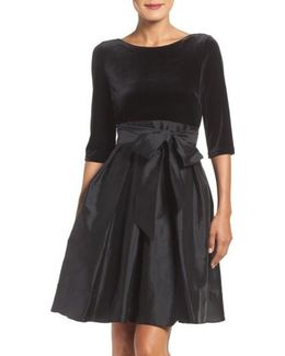 Velvet & Taffeta Fit & Flare Dress