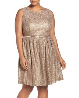 Belted Metallic Lace Pleat Fit & Flare Dress
