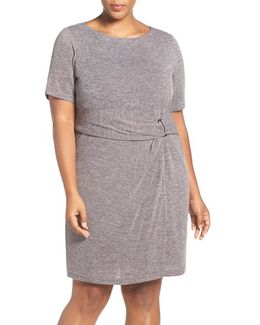Buckle Detail Knit Sheath Dress