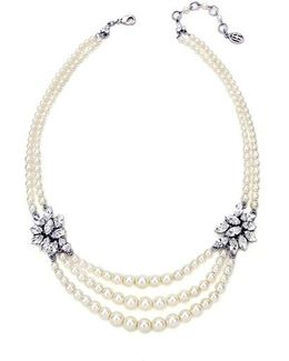 Faux Pearl & Crystal Multistrand Necklace