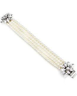 Cascading Crystals Faux Pearl Bracelet
