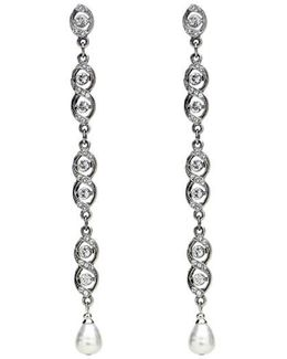 Faux Pearl & Crystal Linear Drop Earrings