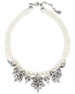 Faux Pearl & Crystal Collar Necklace