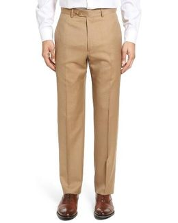 Flat Front Twill Wool Trousers