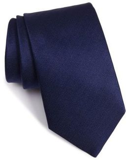 Herringbone Textured Silk Tie