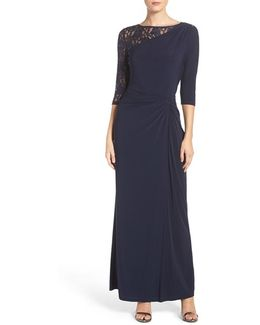Sequin Lace & Jersey Gown