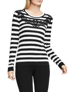 Lace Trim Stripe Sweater
