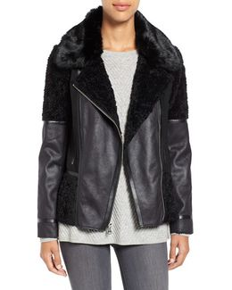Mixed Media Faux Shearling Moto Jacket