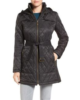 Belted Mixed Quilted Coat With Detachable Hood