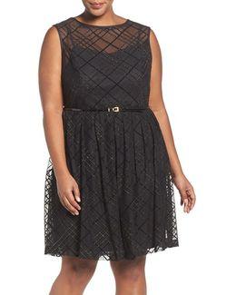 Plaid Mesh Fit & Flare Dress