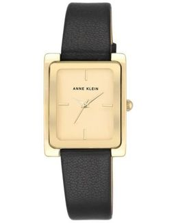 Rectangular Leather Strap Watch