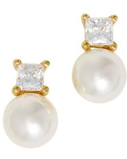 Cubic Zirconia & Faux Pearl Stud Earrings