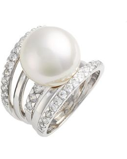16mm Round Simulated Pearl Cubic Zirconia Ring