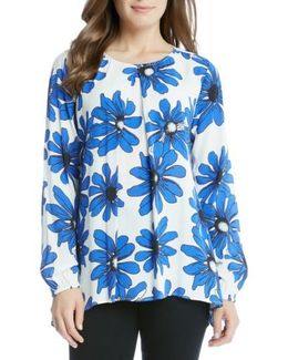 Daisy Floral Printed Long Sleeve Top
