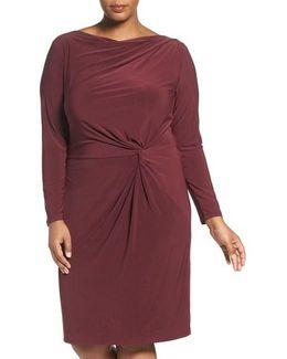 Knot Front Drape Jersey Dress