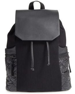 Denim & Faux Leather Backpack