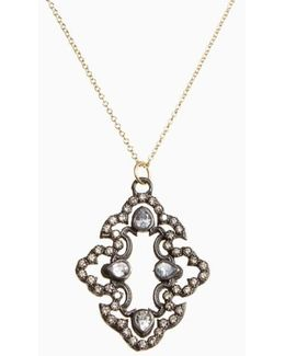 Old World Diamond Scroll Pendant Necklace