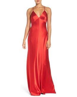 Deep V Satin Slip Gown