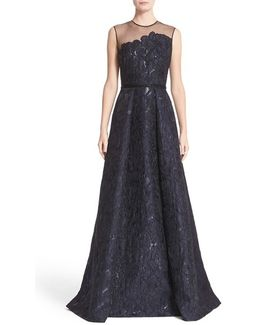 Illusion Yoke Embroidered Jacquard A-line Gown