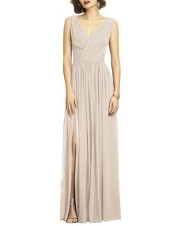 Surplice Ruched Chiffon Gown