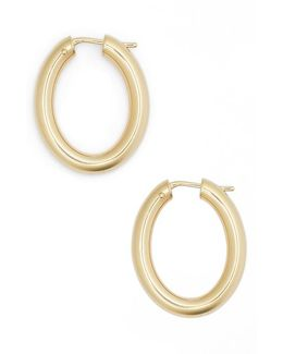 18k Yellow Gold Oval Hoop Earrings/1.05